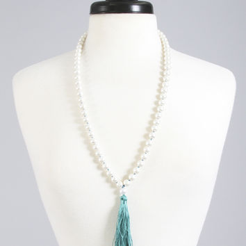 knotted pearl tassel necklace - turquoise