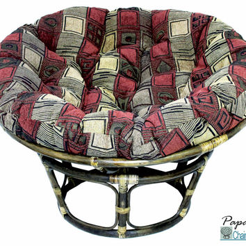 "42"" Single Papasan Chair with Jacquard Chenille Cushion"