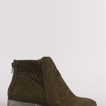 Bamboo Back Cutout Vegan Suede Ankle Boots