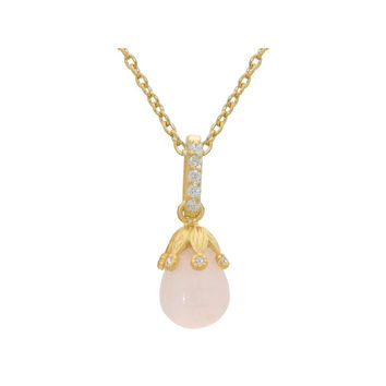 Gold Pl Sterling Silver Rose Quartz Flower Bulb Pendant Necklace, 16""