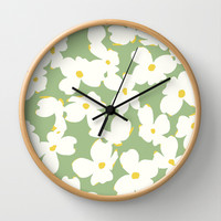 Dogwood Floral: Sage/Green Wall Clock by Eileen Paulino