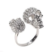 Double Silver CZ Skull Ring @ Inspired Silver