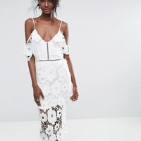 Missguided Strappy Frill Lace Midi Dress at asos.com