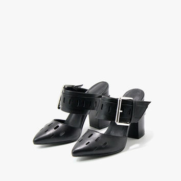 Pointed Faux Leather Sandals