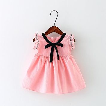 2017 New Summer baby dress Ribbon bow children Dresses cute newborn baby girl dress beautiful kids clothes for party