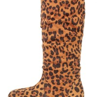 Leopard Slouchy Mid Calf Casual Boots Faux Suede