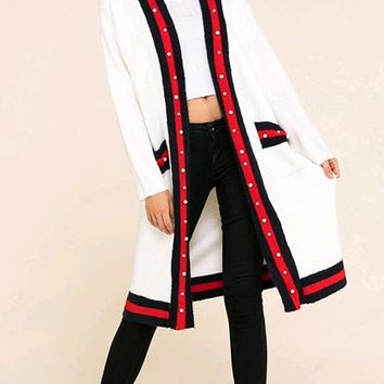 Team Spirit Cream Red Black Stripe Pattern Long Sleeve Pearl Trim Open Cardigan Sweater
