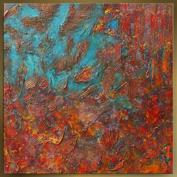 """Red Textured Modern Painting 36"""" Large Wall Art Original Turquoise Teal Office or Home Decor Gift by Nandita Albright"""