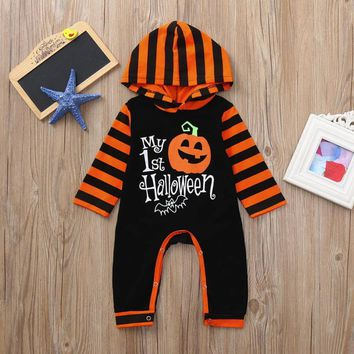 Newest Infant Toddler Baby Girls Boys Costumes Clothing Pumpkin Hoodie Romper Halloween Clothes Jumpsuit Infantil Kids Costumes