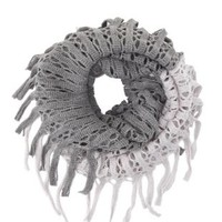 Fringed Open Knit Infinity Scarf by Charlotte Russe - Gray Combo