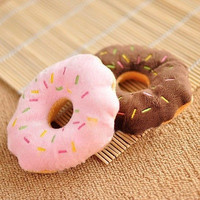 1pc Squeaky Squeaker Puppy Dog Pet Cat Play Chew Donut Sound Toy