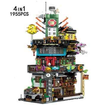 New funny ninja city go moc diy 4in1 building block fisherman robot kai Lloyd Jay fisher divel figures bricks toys collection