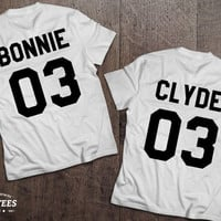 Bonnie Clyde 03 Set of 2 Couple T-shirts, Bonnie Clyde 03 Set of 2 Couple Shirts 100% cotton Tee, WHITE, UNISEX