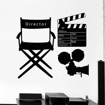 Vinyl Wall Decal Movie Director Clapperboard Cinematography Camera Stickers Unique Gift (771ig)