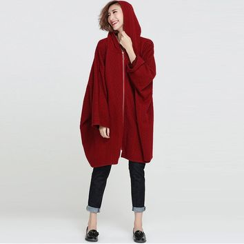 Women Vintage Retro Loose Batwing Sleeve Zipper Oversized Hooded Coat Outwear Jacket Autumn Winter Casual Cape Knitwear