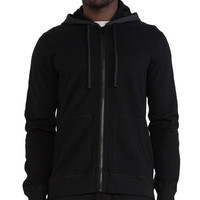 Reigning Champ Full Zip Hoodie with Nylon Trim in Black