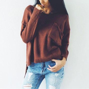 ac PEAPON Winter V-neck Long Sleeve Split Pullover Ripped Holes Sweater [185227903001]