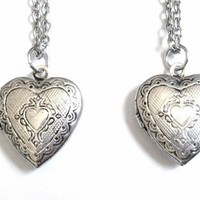 Heart Shaped Friendship or Sister Locket Necklaces Set of 2 Silver
