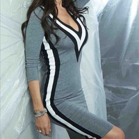 Fashion V-neck sexy tight dress  L61915