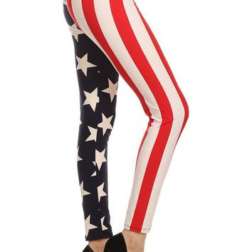 New Women's American Flag Printed Legging-OS
