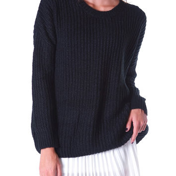 Real Asset Basic Sweater Top - Black