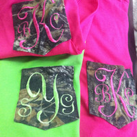Camo monogrammed pocket tee by DP914DESIGNS on Etsy