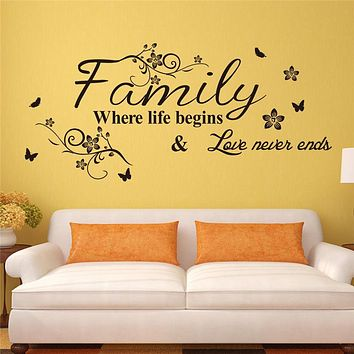 love family quotes wall stickers decorations 8237. diy home decals vinyl art room mural posters adesivos de paredes 4.5