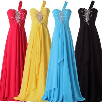 One shoulder prom dresses beading, long formal evening dresses, long prom dress, chiffon party dress = 1956882500