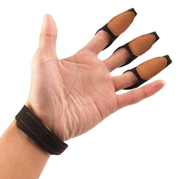 New Style 3 Finger Archery Protect Glove Black Shooting Glove 3Finger Design for Hunting Traditional Recurve Bow Free Shipping