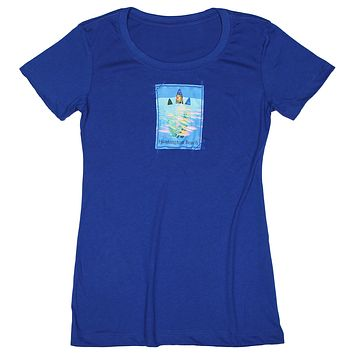 Surf's Up: Women's Nature Amour Surfboard T-shirt, Royal