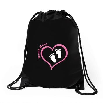 Custom baby girl name maternity design Drawstring Bags