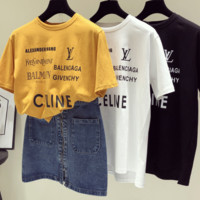 LV Celine letter printing T-shirt women's short sleeves, loose fitting damp white simple T-shirt