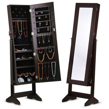 2-in-1 Full Length Mirror Jewelry Armoire in Brown Wood Finish