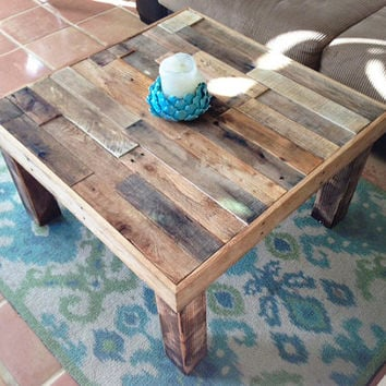 Square Reclaimed Recycled Wood Pallet Coffee Table Living Room Accent End Rustic Furniture Cabin Beach