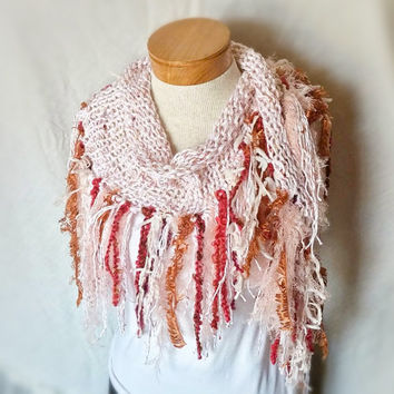 Cotton scarf with fringe Cowl neck triangle Red white gold hand knit scarf Boho fashion