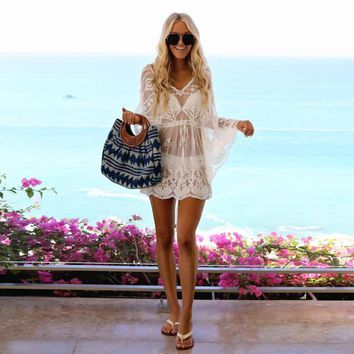 Women's Sexy Long Sleeve V-Neck Lace Cover Short Mini Dress Sundress Bohemian style elegant ladies solid dresses moda mujer