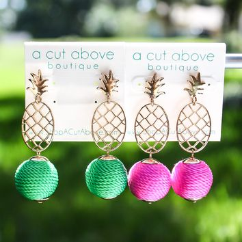 Pineapple Lantern Earring - (Multiple Colors)