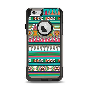 The Tribal Vector Green & Pink Abstract Pattern V3 Apple iPhone 6 Otterbox Commuter Case Skin Set