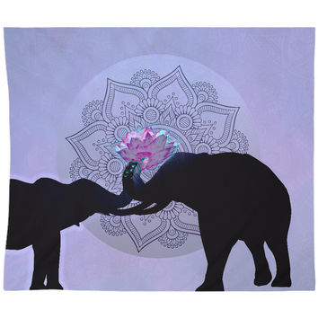 Elephant Love Tapestry Purple and Black with Pink Elephant