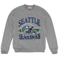 Seattle Seahawks Mitchell & Ness Helmet Crew Neck Sweatshirt - Gray