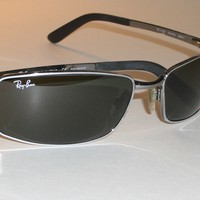 RAY BAN RB3194 004/9A 59[]17 FLIGHT G15 UV SILVER SLEEK RECTANGULARS SUNGLASSES