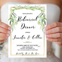 Wedding Rehearsal Dinner Invitation Printable Greenery Rehearsal Dinner Invite Simple Wedding Rehearsal invite Willow Wedding invite Digital