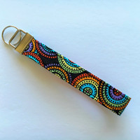Key Chain, Key Fob Wristlet, Circle Keychain, gift for coworker under 10