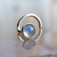 3mm gemstone nose stud, 3mm labradorite nose stud, labradorite nose ring