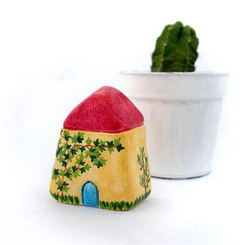 Tiny clay cottage house, miniature clay house, rustic home decor, handpainted, housewarming gift, quirky home decor, one of a kind