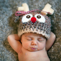 Lil Baby Reindeer Hat Beanie For Boy or Girl                Newborn Baby photo prop          Available Sizes Preemie Newborn and 0-3 mos.