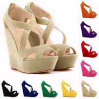 Trendy Cross Strap Platform Wedges