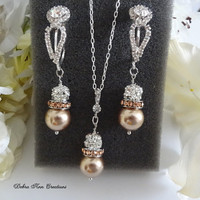 Swarovski Champagne Bronze Pearl Crystal Necklace Earring Set Champagne Pearl Bronze Wedding Bridal Bridesmaid Jewelry Mother of the Bride