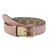 NEW Gucci Women's Supreme Reversible Leather Canvas Pink/Beige 391271 Size 34