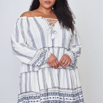 Ladies fashion plus size off the shoulder lace-up boho mini dress